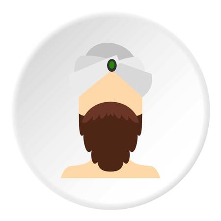 Man with beard and mustache wearing turban icon in flat circle isolated on white vector illustration for web