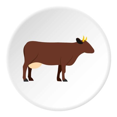 Kuh-Symbol in flachen Kreis isoliert auf weiß Vektor-Illustration für Web