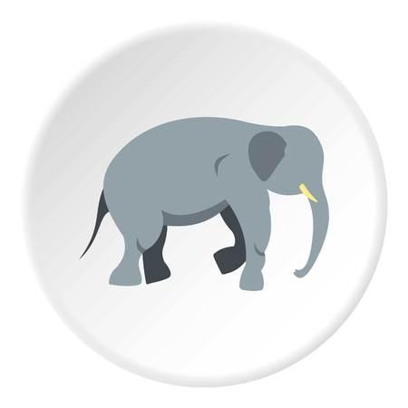 화이트 절연 평면 원 안에 코끼리 아이콘 웹에 대 한 벡터 일러스트