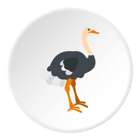 Ostrich icon in flat circle isolated on white vector illustration for web