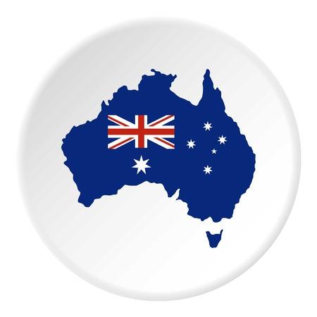 Icono de bandera australiana en círculo plano aislado en ilustración vectorial blanco para web Foto de archivo - 81187042