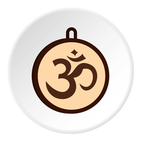 Hindu Om symbol icon in flat circle isolated on white vector illustration for web Illustration