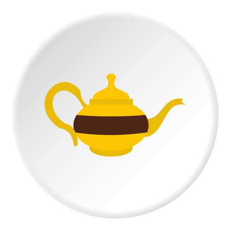 wares: Teapot icon in flat circle isolated on white vector illustration for web