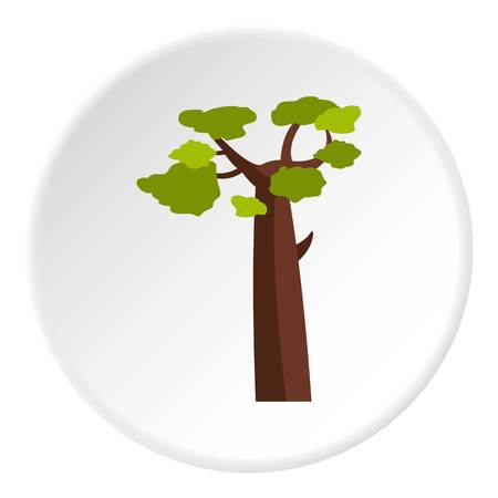 Baobab icon in flat circle isolated on white vector illustration for web Illustration