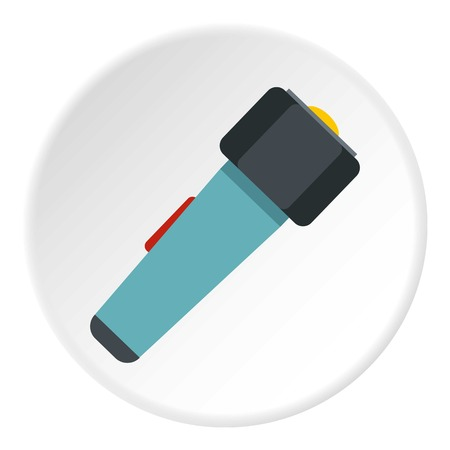 Hand flashlight icon in flat circle isolated on white vector illustration for web Illustration
