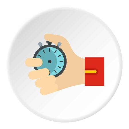 finishing: Stopwatch icon in flat circle isolated on white vector illustration for web Illustration