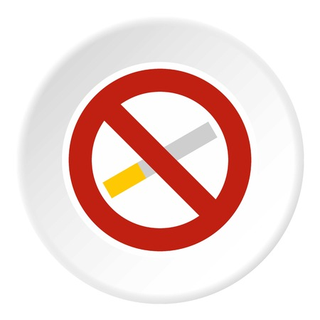 smoldering: No smoking icon in flat circle isolated on white vector illustration for web
