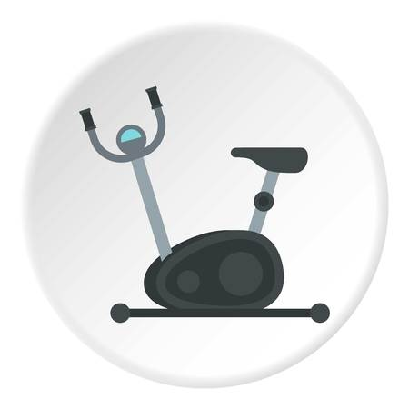 Exercise bike icon in flat circle isolated on white vector illustration for web