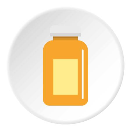 Medicine jar icon in flat circle isolated on white vector illustration for web