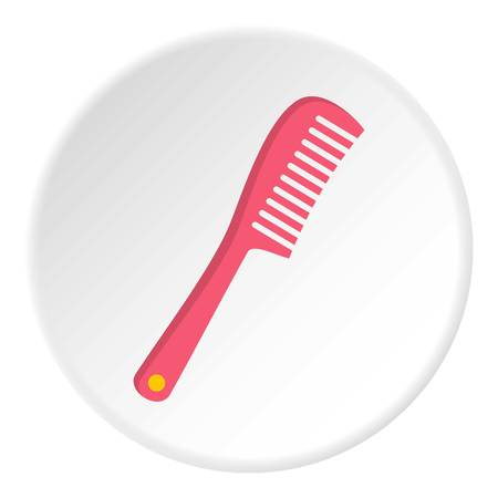 Comb icon in flat circle isolated on white vector illustration for web