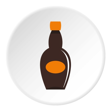 bottled: Big bottle icon in flat circle isolated on white vector illustration for web
