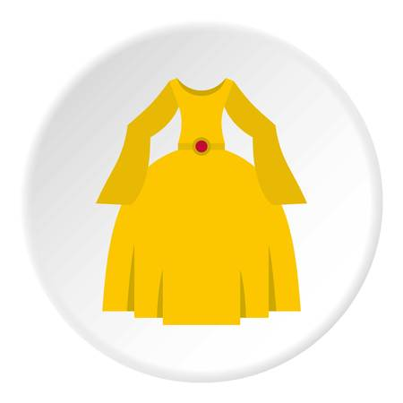 Princess dress icon in flat circle isolated on white vector illustration for web