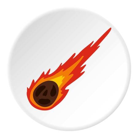 devastation: Meteorite icon in flat circle isolated on white vector illustration for web