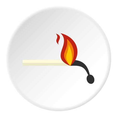 Burning match icon in flat circle isolated on white vector illustration for web