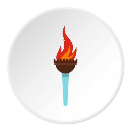 Torch icon in flat circle isolated on white vector illustration for web Illustration