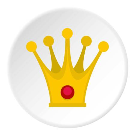 Crown icon in flat circle isolated on white vector illustration for web