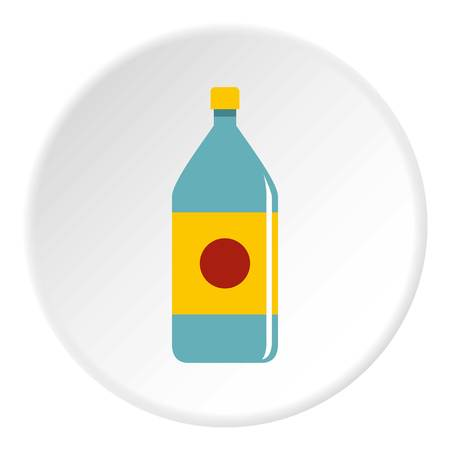 bottled: Water bottle icon in flat circle isolated on white vector illustration for web Illustration