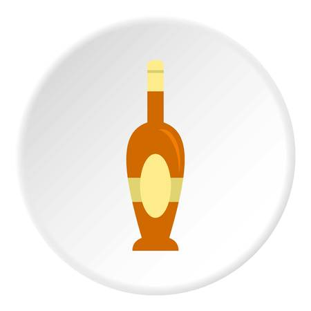 Holiday bottle icon in flat circle isolated on white vector illustration for web Illustration