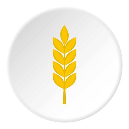 Wheat spike icon in flat circle isolated Illustration