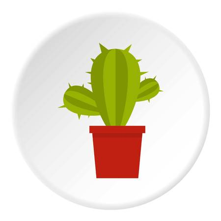Cactus flower in pot icon circle Illustration