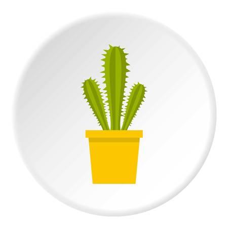 Blooming cactus icon circle Illustration
