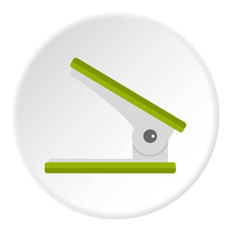 Yellow ruler icon in flat circle isolated on white vector illustration for web