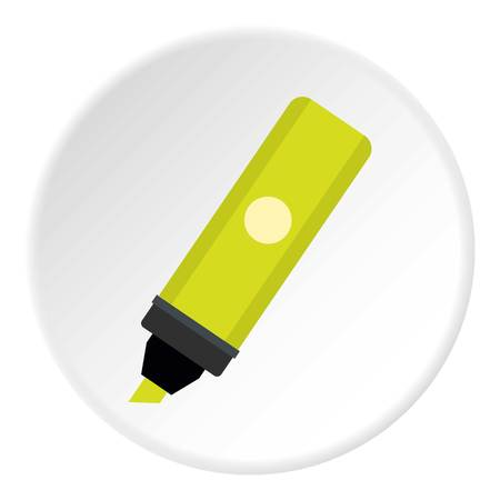 Yellow sheet of paper for notes icon in flat circle isolated on white vector illustration for web