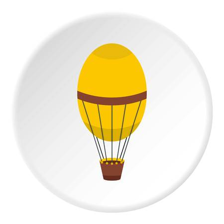 Gray blimp aircraft flying icon in flat circle isolated on white vector illustration for web