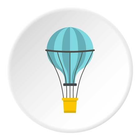 blimp: Yellow airship icon in flat circle isolated on white vector illustration for web