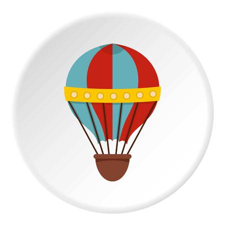 float fun: Air balloon journey icon in flat circle isolated on white vector illustration for web