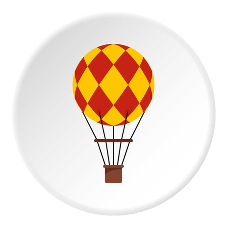 float fun: Yellow retro hot air balloon icon in flat circle isolated on white vector illustration for web