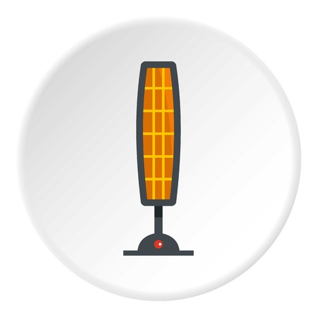 White electric heater on wheels icon circle Illustration