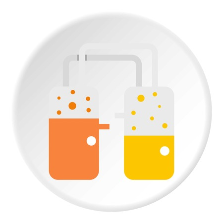 distillation: Industrial building icon in flat circle isolated on white vector illustration for web