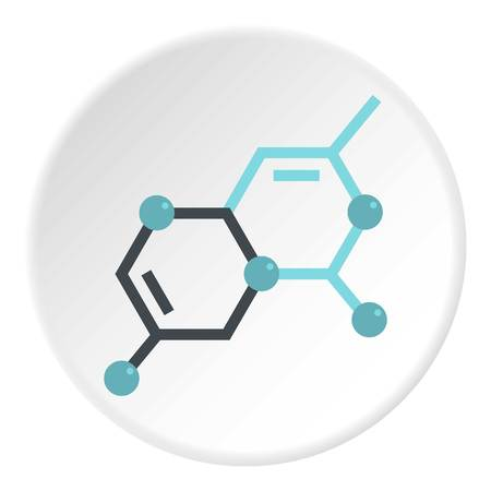 Group of atoms forming molecule icon in flat circle isolated on white vector illustration for web