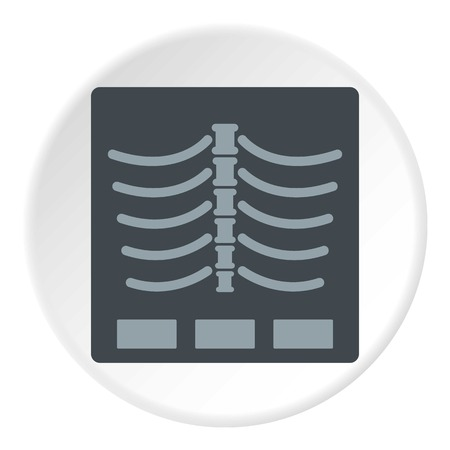 X Ray icon in flat circle isolated on white vector illustration for web