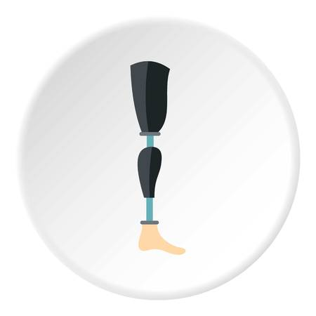 Prosthetic leg icon in flat circle isolated on white vector illustration for web