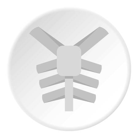Human thorax icon in flat circle isolated on white vector illustration for web