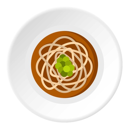 Asian noodles icon in flat circle isolated on white background vector illustration for web Illustration