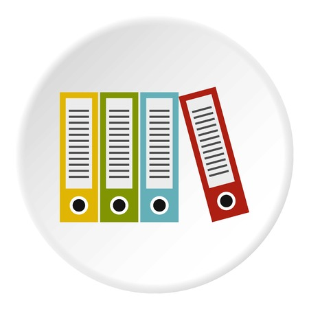 Folders icon in flat circle isolated on white background vector illustration for web