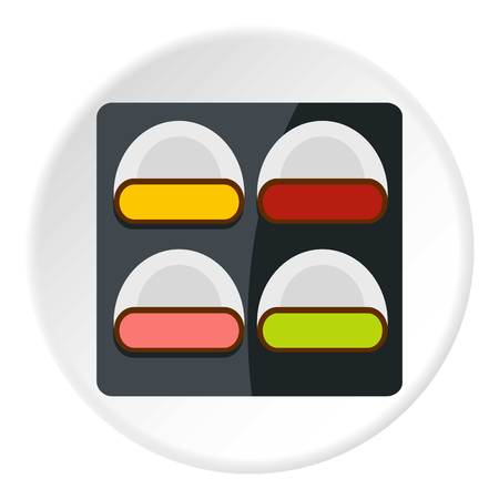 japanese ethnicity: Different sushi icon in flat circle isolated on white background vector illustration for web