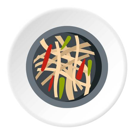 Asian salad icon in flat circle isolated on white background vector illustration for web