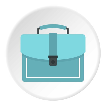 money packs: Briefcase icon in flat circle isolated on white background vector illustration for web