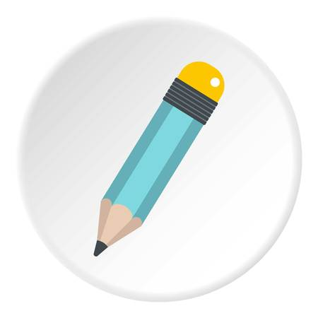 Pencil icon in flat circle isolated on white background vector illustration for web
