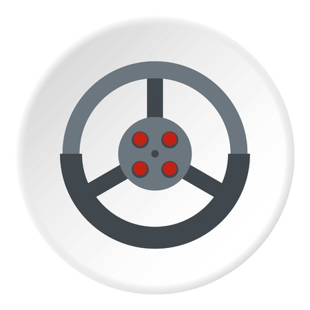 Steering wheel icon in flat circle isolated on white background vector illustration for web Stock Vector - 81188134