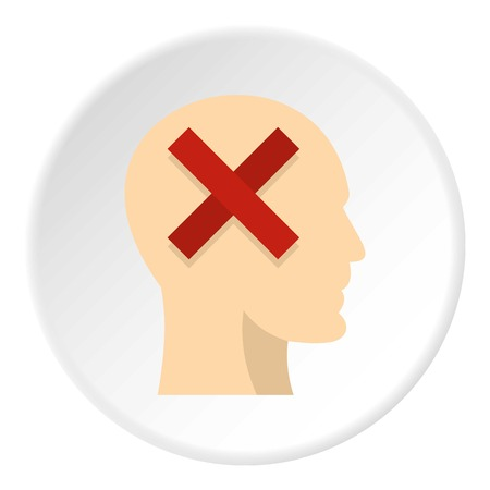 Man head silhouette with red cross inside icon in flat circle isolated on white background vector illustration for web Illustration