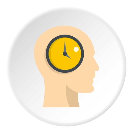 overtime: Silhouette of a human head with internal clock icon in flat circle isolated on white background vector illustration for web