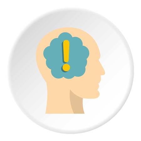 adentro y afuera: Exclamation mark inside human head icon in flat circle isolated on white background vector illustration for web