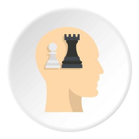 Queen and pawn chess inside human head icon in flat circle isolated on white background vector illustration for web