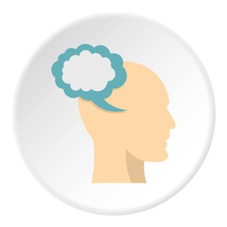 exhausting: Profile of the head with cloud inside icon in flat circle isolated on white background vector illustration for web Illustration