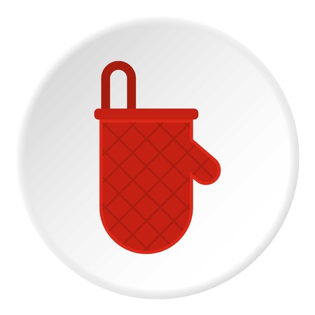 Red oven mitten icon in flat circle isolated on white background vector illustration for web Illustration